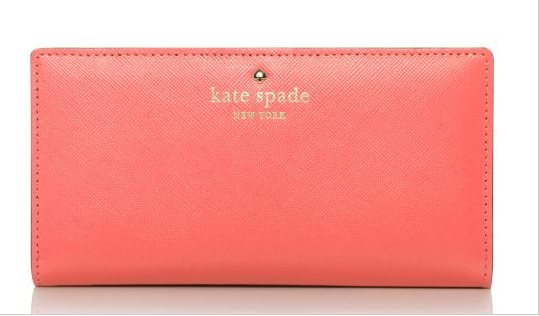 Kate Spade Mikas Pond Stacy wallet in Flo Coral Photo taken from www.katespade.com