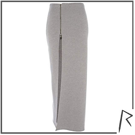 Grey Rihanna thigh split sweat maxi skirtPhoto from www.riverisland.com
