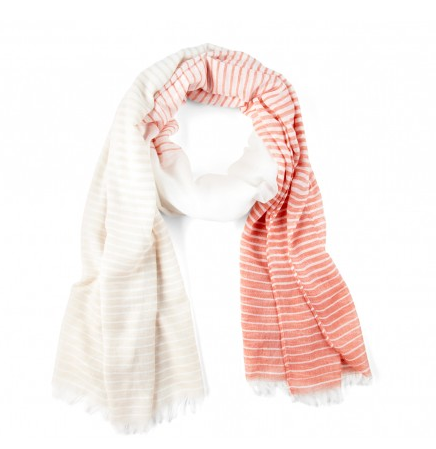 COlor Block Stripe Scarf in Coral Combo Photo Credit: Sole Society