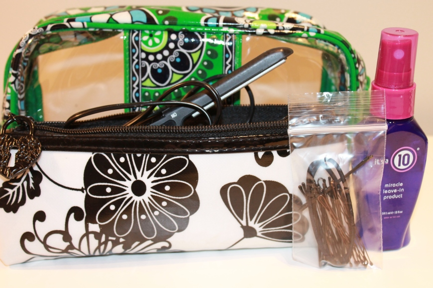 Vera Bradley Cosmetic bag, Conair mini flat iron, It's A 10 Leave-in treatment, bobby pins and elastics