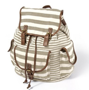 Mixed Striped Canvas Backpack