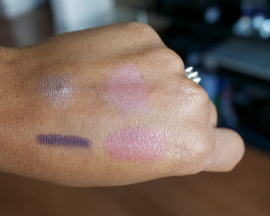 clockwise: Eyeshadow in Yukon, Swimmables blush in Bali, Lip color in Santa Fe and Eyeliner in Pfeiffer Beach